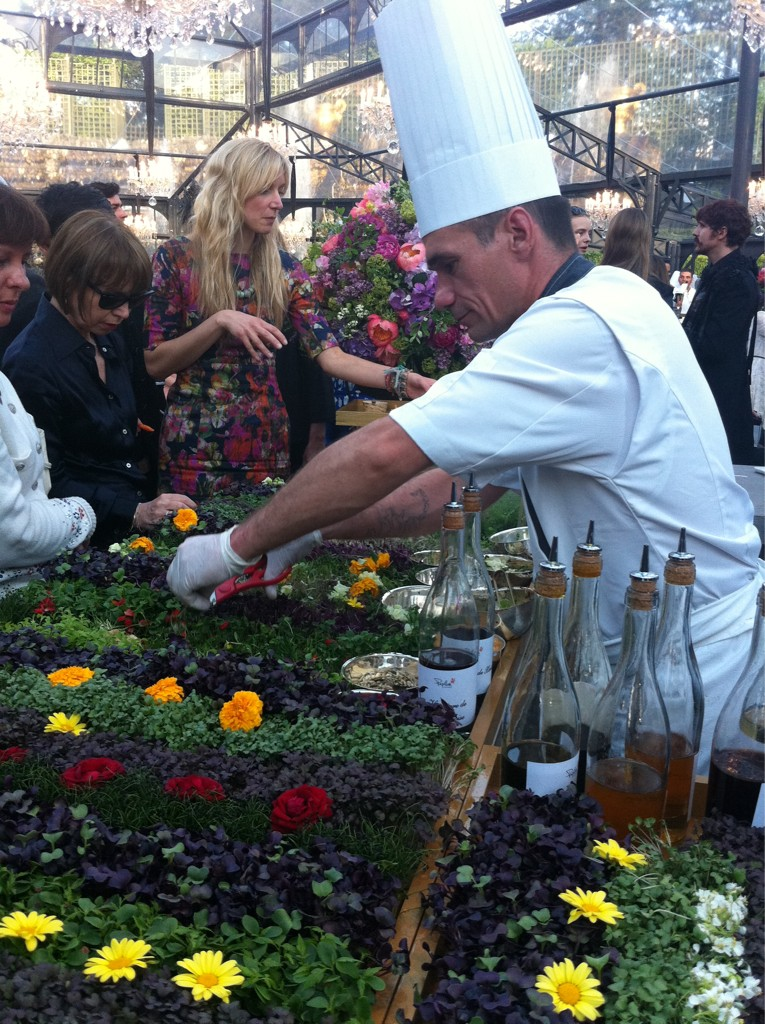 At the #Chanel reception earlier: chef cuts fresh herbs in front of guests to make mini salads http://t.co/UWLxfk2z