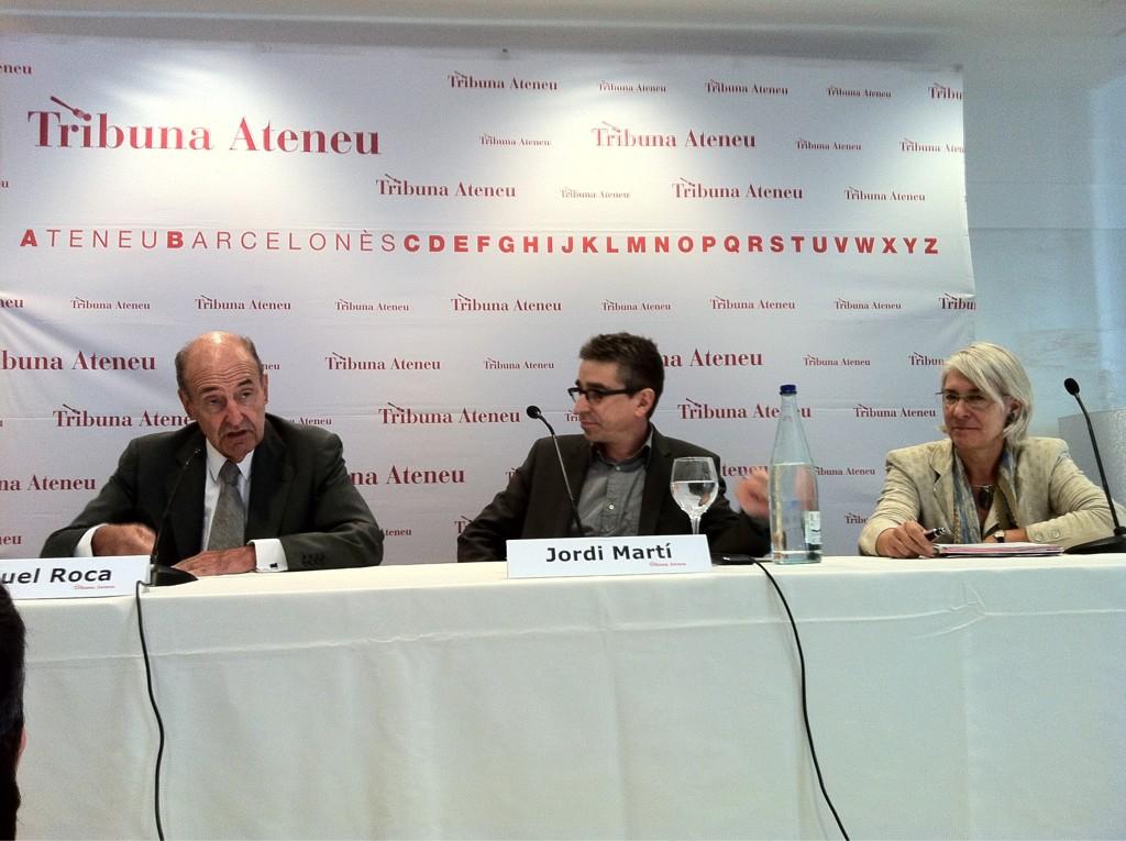 A la conferencia d @jordimarti de l'Ateneu BCN amb Miquel Roca i Pilar d Torres http://t.co/ep8jvig0