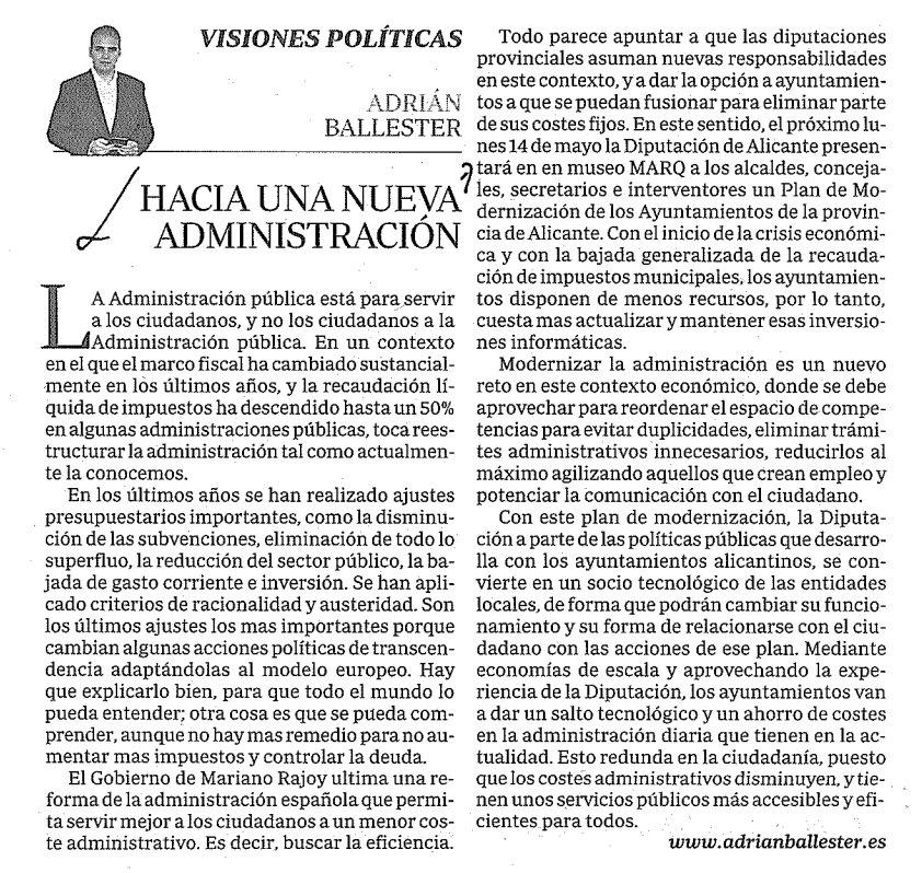 RT @i_roman: Recomiendo la lectura del art■culo de @AdrianBallester en el diario ABC: Hacia una nueva Administracin http://t.co/WNu1LBdV