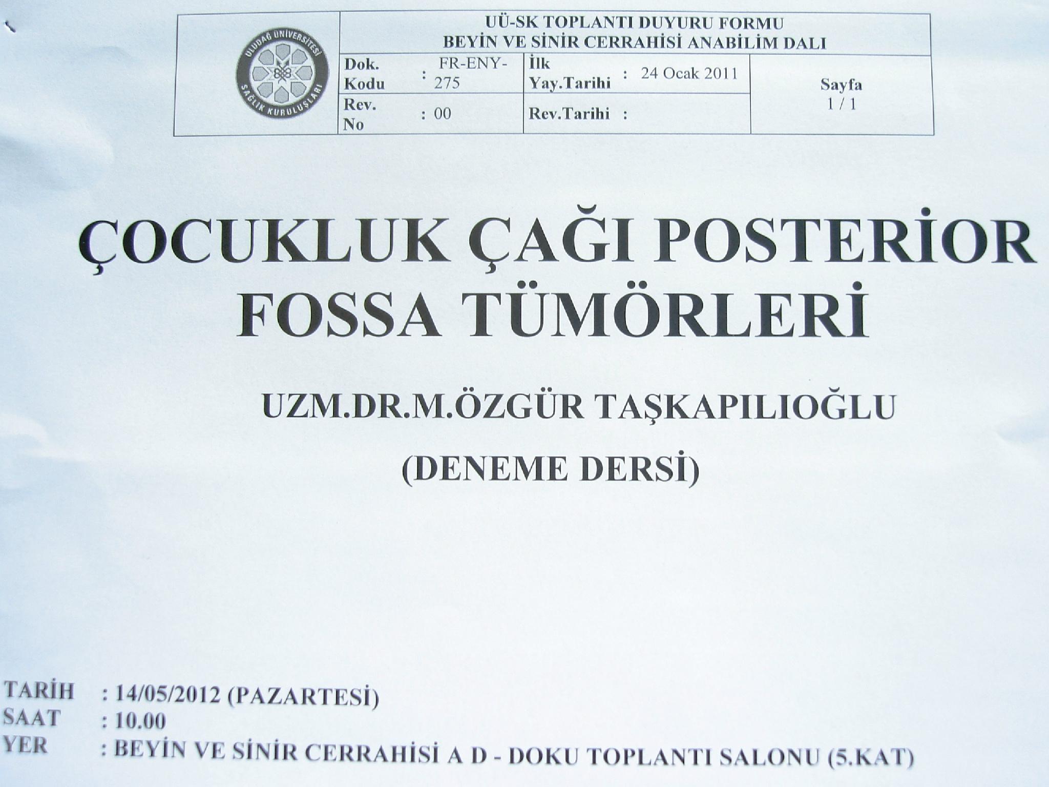 Uzm. Dr. Özgür M. Taşkapılıoğlu, Yrd. Doç. için gerekli deneme dersi 14 Mayıs 2012 tarihinde Doku toplantı salonunda. http://t.co/q3ulFBEv