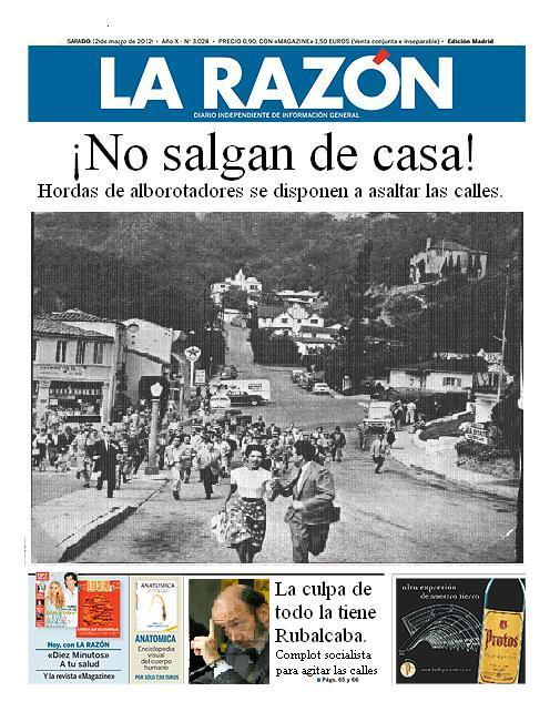 #volvemos12m #alaplaza12m La Razon ya tiene preparada su portada para mañana... http://t.co/DZJ9tbGB