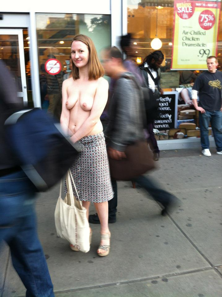 Rock on. Moira Johnston has been wandering the LES topless all Summer. Raising awareness that it's legal in NYC. #NSFW http://t.co/bokSxtlF