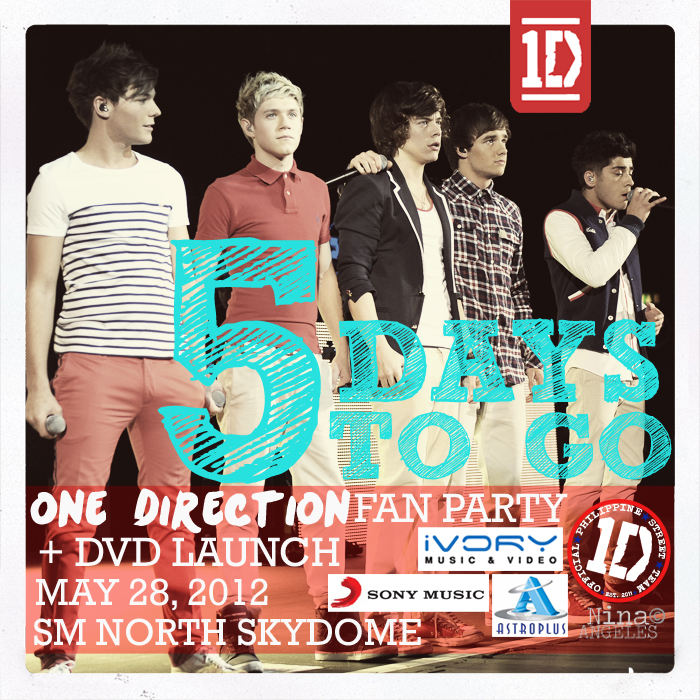 5 days until the BIGGEST @onedirection FAN PARTY and DVD LAUNCH in the world! http://t.co/DHjLfeOz