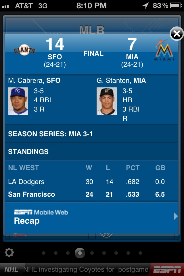 @SFGiants @KNBR @katetscott @byrnes22: GO GIANTS! @ESPN_MLB should update @MelkyCabrera's photo, though! #MelkMan http://t.co/xgAH9xr3