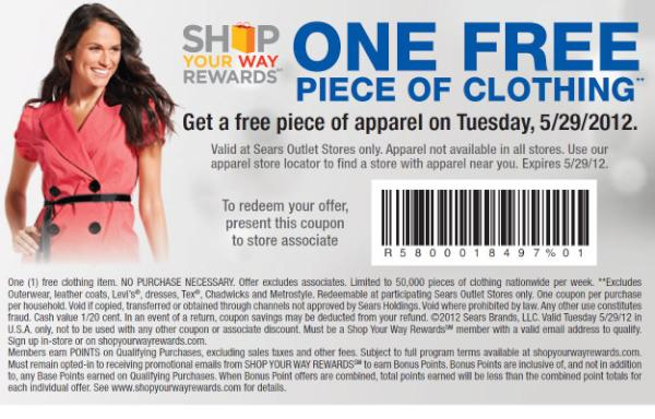 Happy #FreeApparelTuesday RT to share this coupon for a free piece of apparel @SearsOutlet http://t.co/Z3YvttL6
