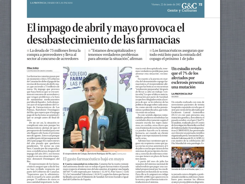 El impago a las Farmacias Canarias en Abril y Mayo comienza a causar desabastecimiento de medicamentos. http://t.co/qZjf2vbO