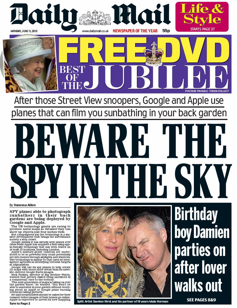 RT @SkyNews: DAILY MAIL FRONT PAGE: Beware the spy in the sky #skypapers http://t.co/IPttRdiJ