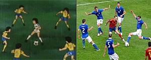 """Iniesta, en el partido contra Italia se reencarnó en Oliver (y Benji ) de los famosos dibujos """"Campeones"""" ... http://t.co/bLLlD4R0"""