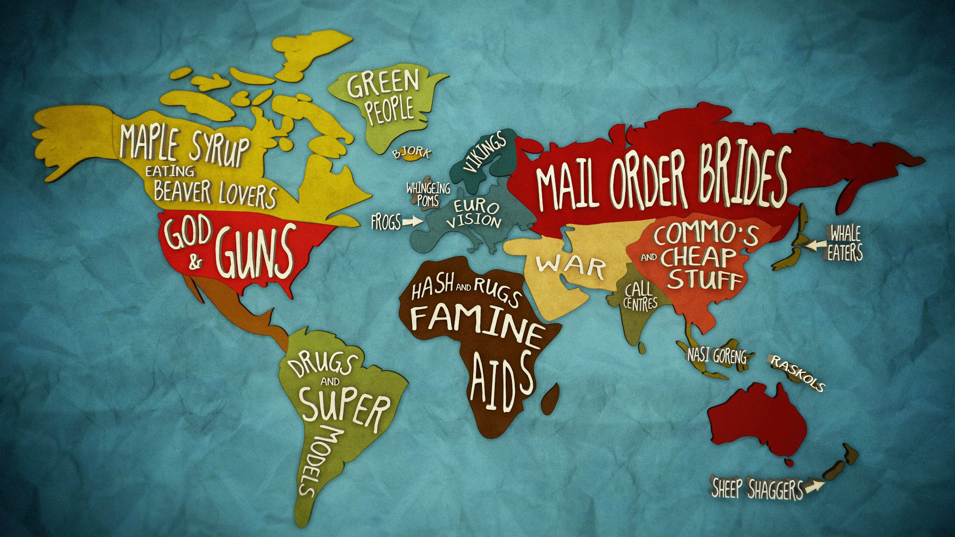 Check out this brilliant Global Stereotype map from the ABC. What should Aus say? (& is Canada 'eating beaver'?) *ahem* http://t.co/OXIGU5MZ