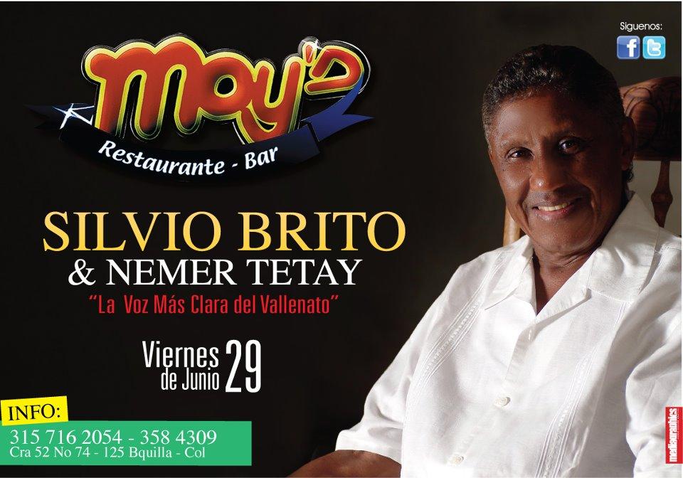 RT @Damian_lora: Porque tu lo pediste @SilvioBritoM 'La voz mas clara del vallenato' se presentara este 29 de junio en Moy´s. @B/quilla. ...