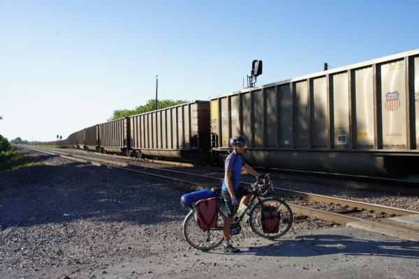 Bad timing at the railway crossing... waiting for very long and very slow coal train to pass near Chester, Illinois.