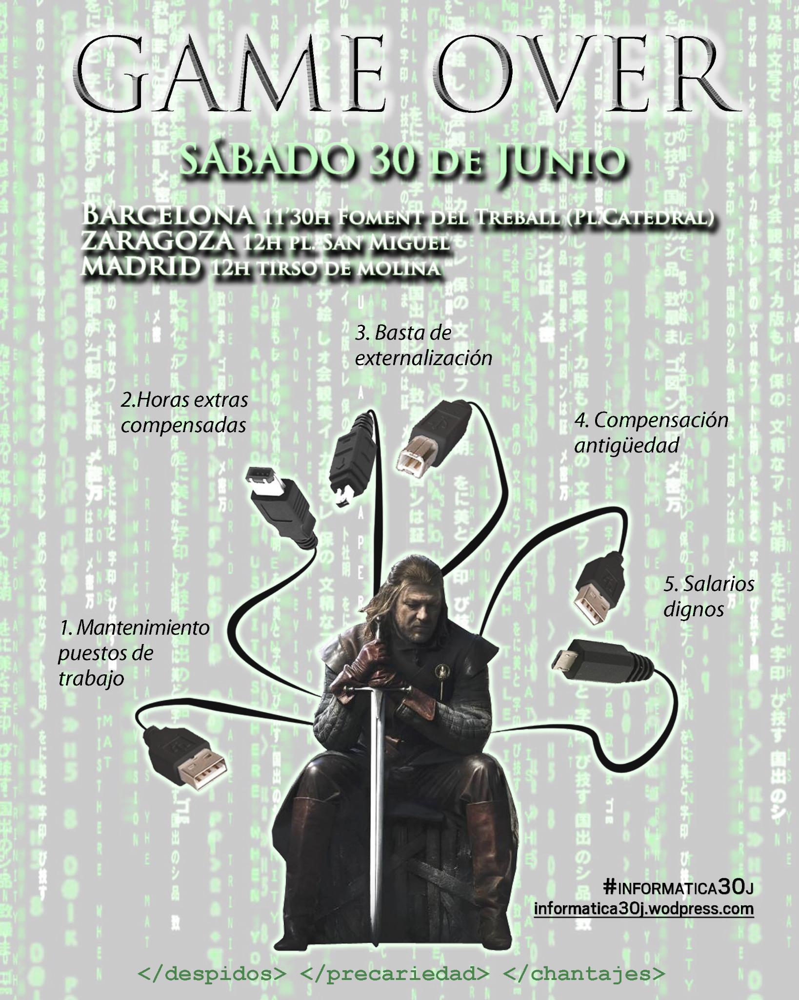 Los informaticos nos manifestamos este sabado en #Barcelona, #Madrid y #Zaragoza DIFUNDE PLEASE!!! #15M #Informatica30J http://t.co/vuoK6PZi