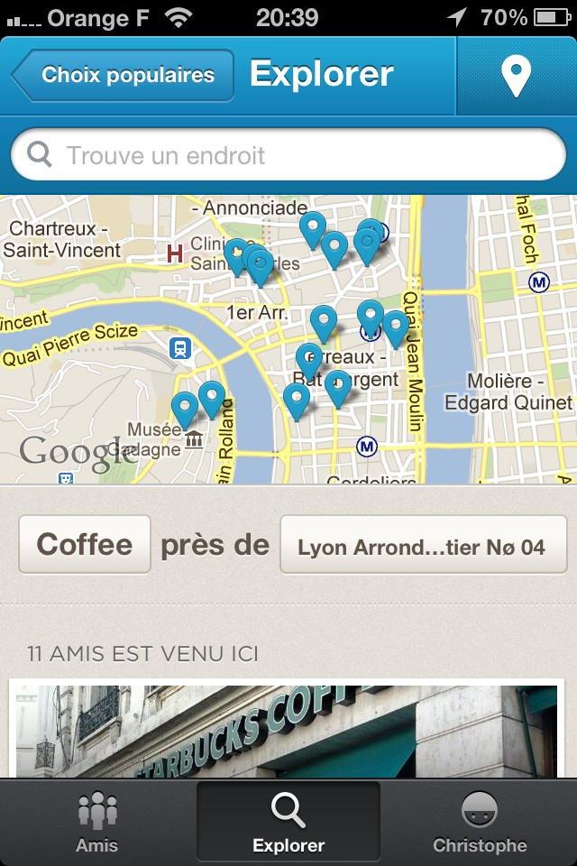 La fonctionnalité 'Top Picks' de l'Explorer du nouveau @Foursquare est juste parfaite ! Pertinente et illustrée... :) http://t.co/rGvnYpGQ