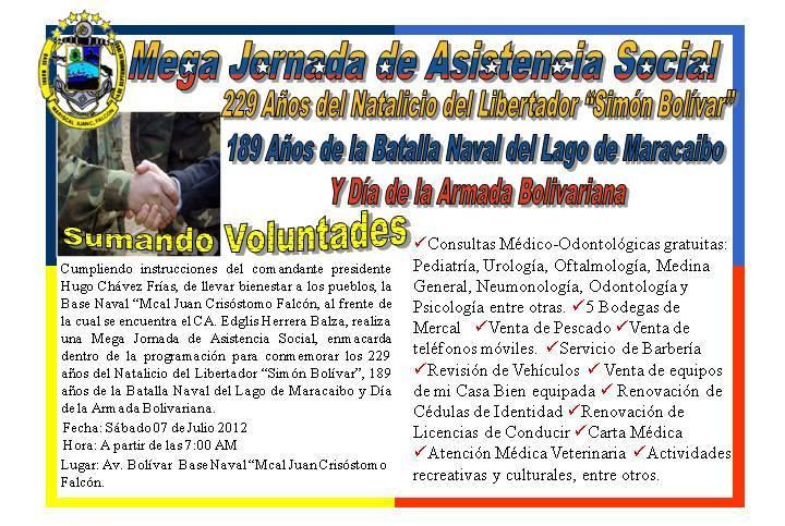 CA. Edglis Herrera Balza, Cmdte de la Base Naval Mcal. Juan Crisóstomo Falcón,invita a la colectividad a Jornada Social http://t.co/22nZ8K1g