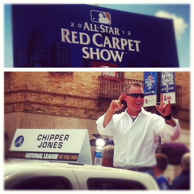 """@MLB: Last ride: Chipper Jones feels the love during the All-Star Red Carpet Show. #ASG http://t.co/UAM3ZcnE"" #respect"