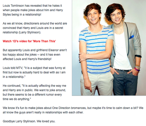 I will forever ship Larry Stylinson but I totally respect Louis and Eleanor's relationship.. Goodbye Larry http://t.co/M48kgHhX