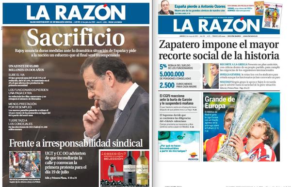 Xose Morais (@XoseMorais): Comparativa de portadas de La Razón: los recortes de Zapatero y los de Rajoy. http://t.co/tkdCzeNK