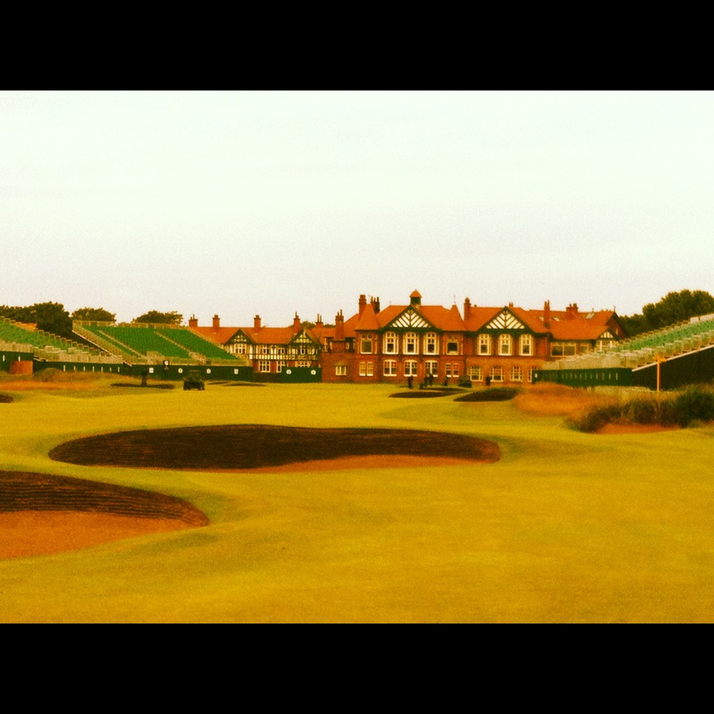 The 18th at Lytham. Final preparations going ahead. Looking good! Just need the sun to poke its head out... #TheOpen http://t.co/rdRiC8b4