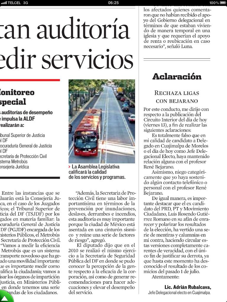 """""""@AdrianRubalcava: reforma'DESMIENTE RUBALCAVA ALIANZA CON BEJARANO Y PAN, seᅢᄆala a @LuisRosendo_Gtz creador del rumor. http://t.co/XicvYSZv"""