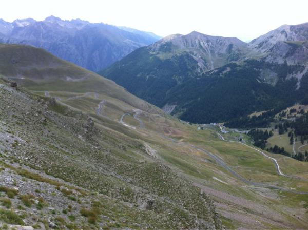 At the foot of the Col de Vars. Here's the view from the climb of the 2715m Col de la Bonnette