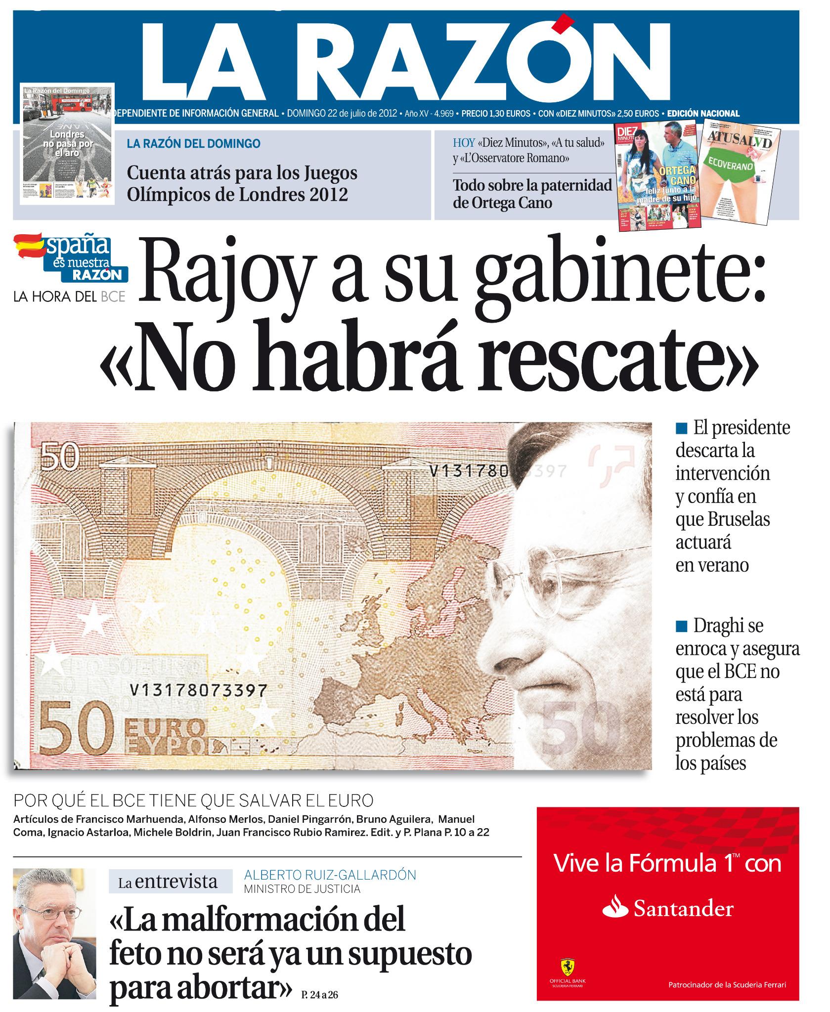 Paco, la malformación del feto y Rajoy  en la misma portada, CRACK. @pacomarhuenda: Aquí os dejo la portada de LA RAZÓN http://t.co/YdgBhard