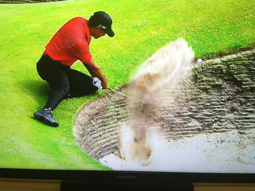 Yes, Tiger got this ball out of the bunker in a sitting stance http://t.co/XtXeTe1f