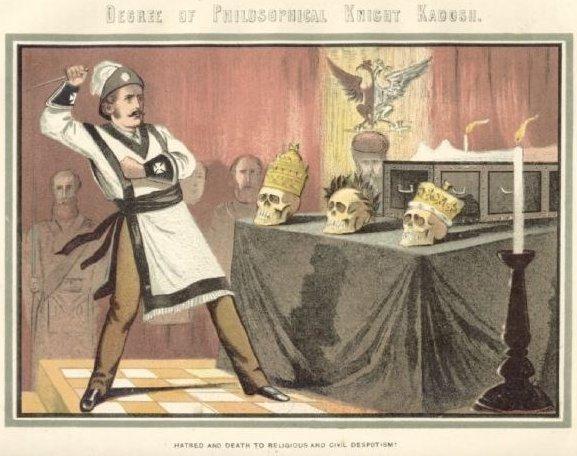 Imagen del ritual del Caballero Kadosh (grado 30) del siglo XIX. #masoneria #supremoconsejo #scottishrite http://t.co/UJuocuHv