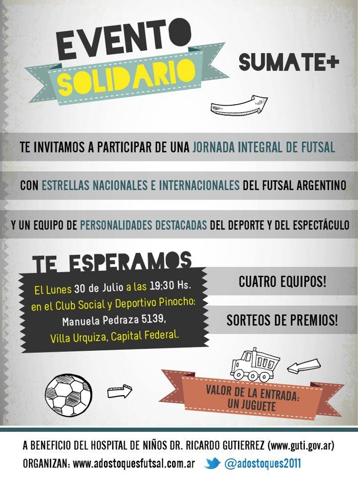 #FUTSAL SOLIDARIO! No se olviden. #Lunes 30 de Julio, #PARTIDO DE LAS #ESTRELLAS. ¿La entrada? UN #JUGUETE. http://t.co/2c08gXbQ