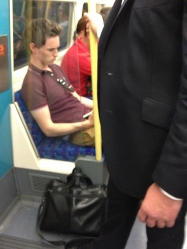 Eddie Redmayne on the tube. Casual. #totallyfreakingoutrightnow #marryme #ilovelondon http://t.co/9qEEleQU