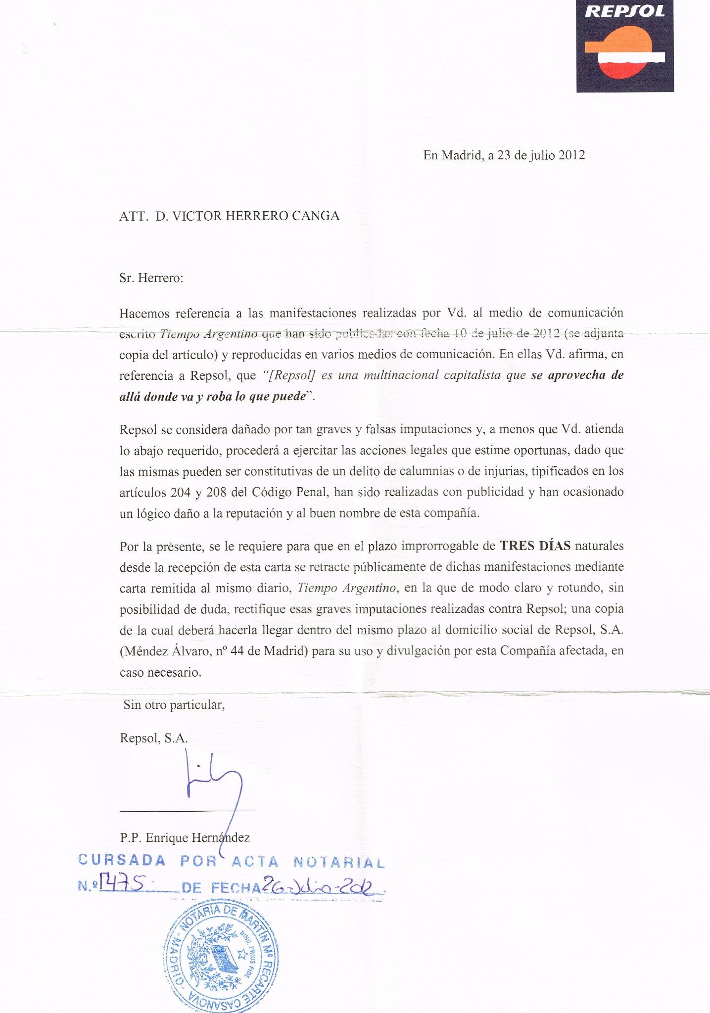 Aquí va la carta en forma d amenaza k me envía Repsol Yo no tengo nada d que preocuparme en un país libre y democratico http://t.co/LYJRFw2o