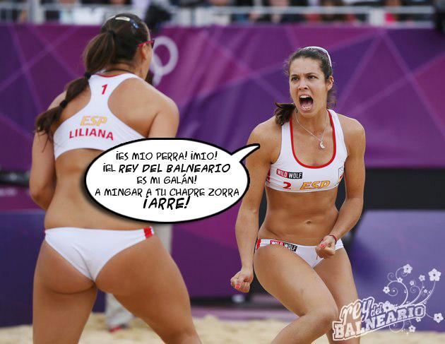 Pleito grande de las jugadoras de voleibol playero de España en #londres2012 No se enojen galanas...arre! http://t.co/Tuo4sdrN