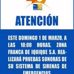 ¡Que No Se Te Olvide! Hoy Domingo en Zofri Se Realizara Prueba De Sirenas. #iquique .http://t.co/eflNLEZC5g