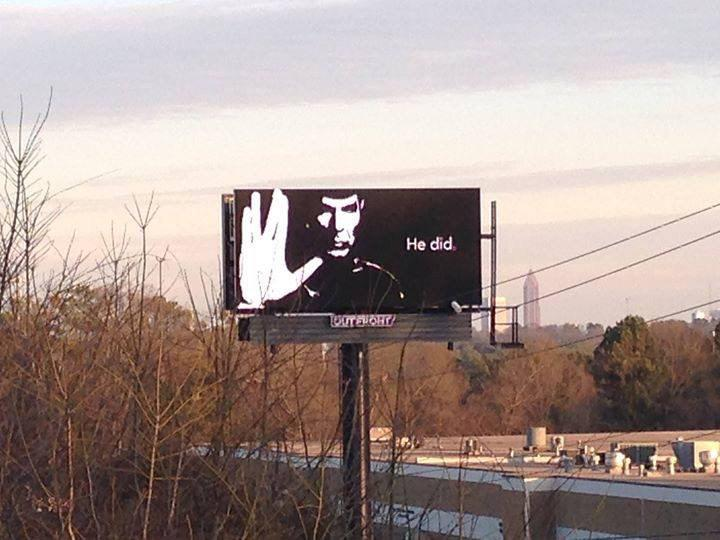 Seen in #Atlanta today... #Spock #LeonardNimoy http://t.co/HdbOk5R4tH