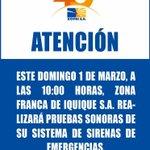 Recordamos que este domingo 1° de marzo realizaremos prueba sonora del sistema de sirenas de emergencia, a las 10 am. http://t.co/UkDvlw3F2X