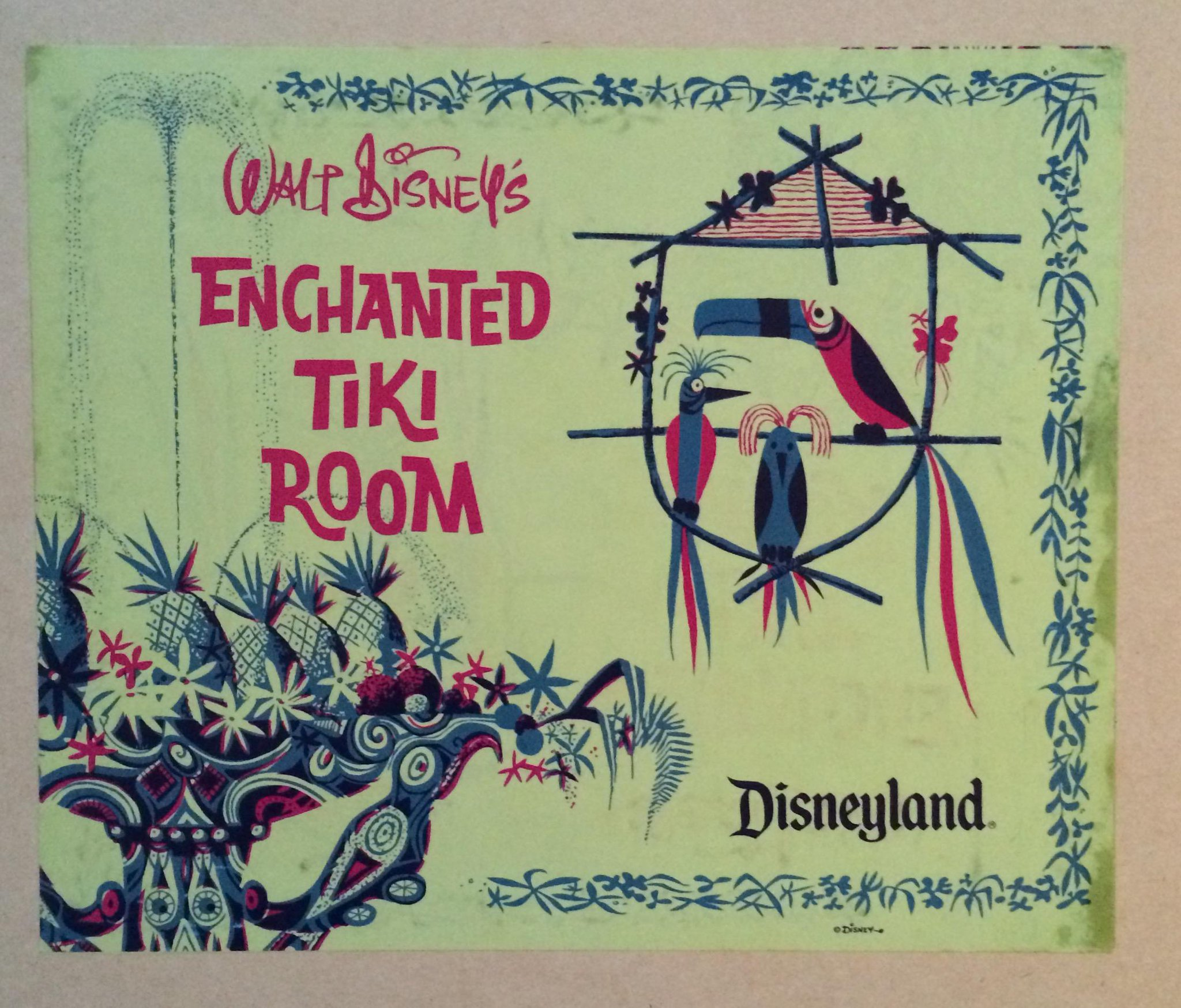 Not sure of the artist (the birds look Marc Davis-esque), but I love this Disneyland Tiki Room art. http://t.co/BTOPe2WIeO