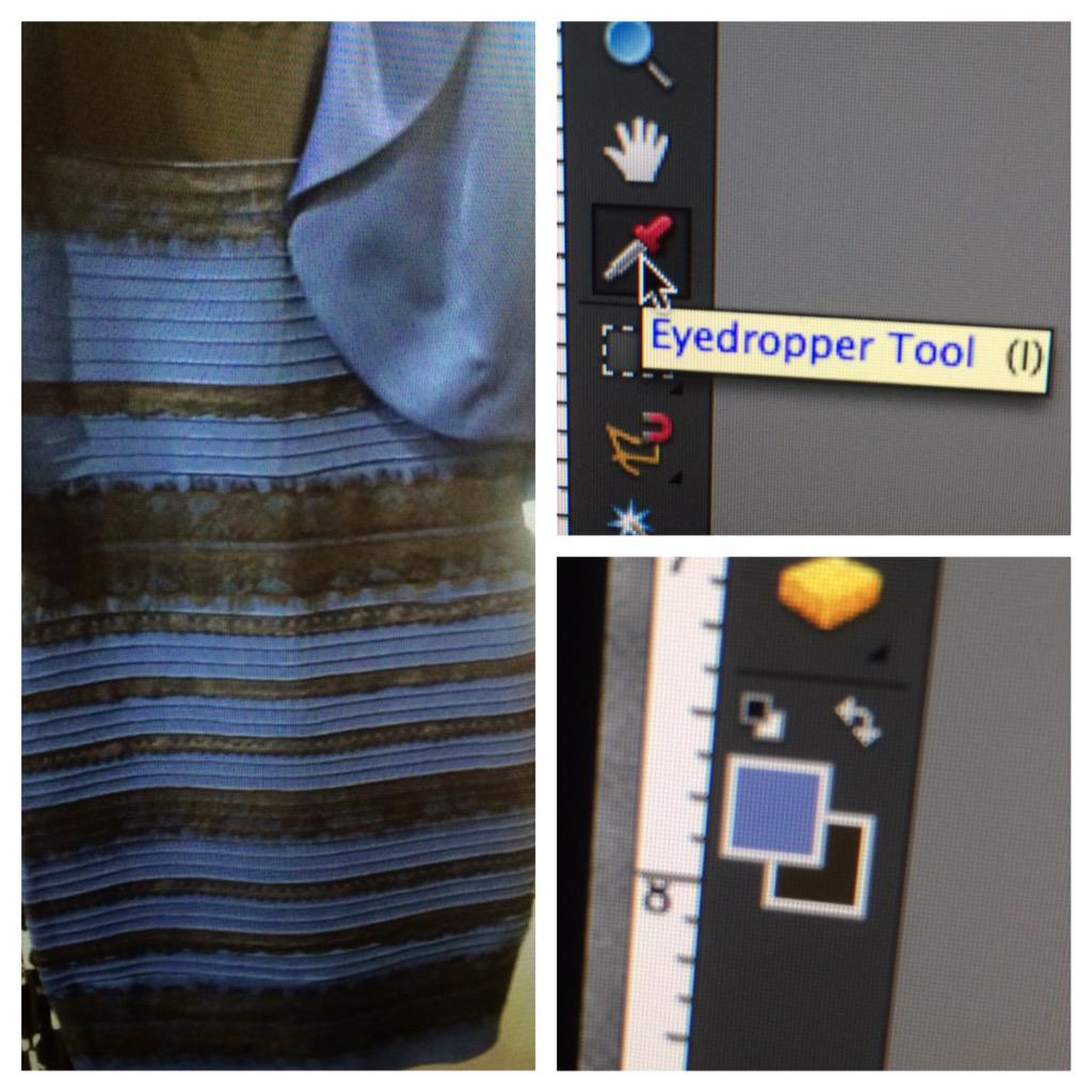 Photoshop + Eyedropper Tool don't lie.  The dress is #blueandblack.  Warm lighting + ur dumb eyes are to blame. http://t.co/mof4pMZtDi