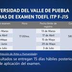 Fechas para presentar el examen TOEFL #SomosUVP #TOEFL #Puebla http://t.co/BOGkuUupbO