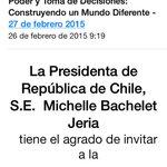 Encantada habría asistido Presidenta Bachelet si la invitación no hubiese sido obligada ..de un día para otro !! http://t.co/tlbBM7qmfT