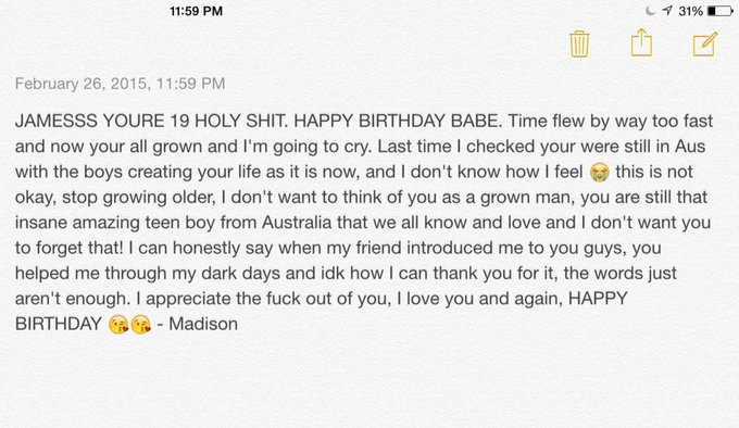 HAPPY BIRTHDAY it would\ve been longer but I wanted to post this right at 12!