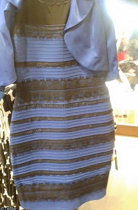 このドレス、「白×金」と「青×黒」のどちらに見える?人によって答えが変わり、今、世界中で大論争になっている。セレブも興味深々で、テイラー・スウィフトやジャスティン・ビーバーは青×黒、ジュリアン・ムーアやサラ・ハイランドは白×金と回答。 http://t.co/zaLrGWFBdq