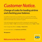 #MTNAirtime : CUSTOMER NOTICE. Change of codes for loading airtime and checking your balance. #MTNBalance http://t.co/xfuWleuSc1