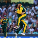 South Africas @Kyle_Abbott87 celebrates bowling Chris Gayle for 3 #CWC15 @OfficialCSA #SAvWI @telegraph_sport @scg http://t.co/dc4rDwaD8G