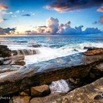 Friday sunrise on the #Sydney coast. Love these clouds! #Maroubra #Sydney #seascape #photography http://t.co/kcgocSJjIR