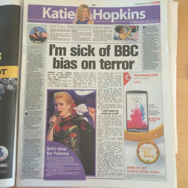 Just catching up with @KTHopkins @TheSunNewspaper column - a great read as usual http://t.co/j9ACfio84M