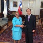 Presidenta Bachelet se reúne con el Secretario General de Naciones Unidas (ONU), Ban Ki Moon #WomanStgo http://t.co/wW10rIZzQ0