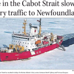 Photo of ice breaker Amundsen Page B1 of todays Telegram. Cabot Strait ice causing problems for @maferries http://t.co/D9dRFz0XcH