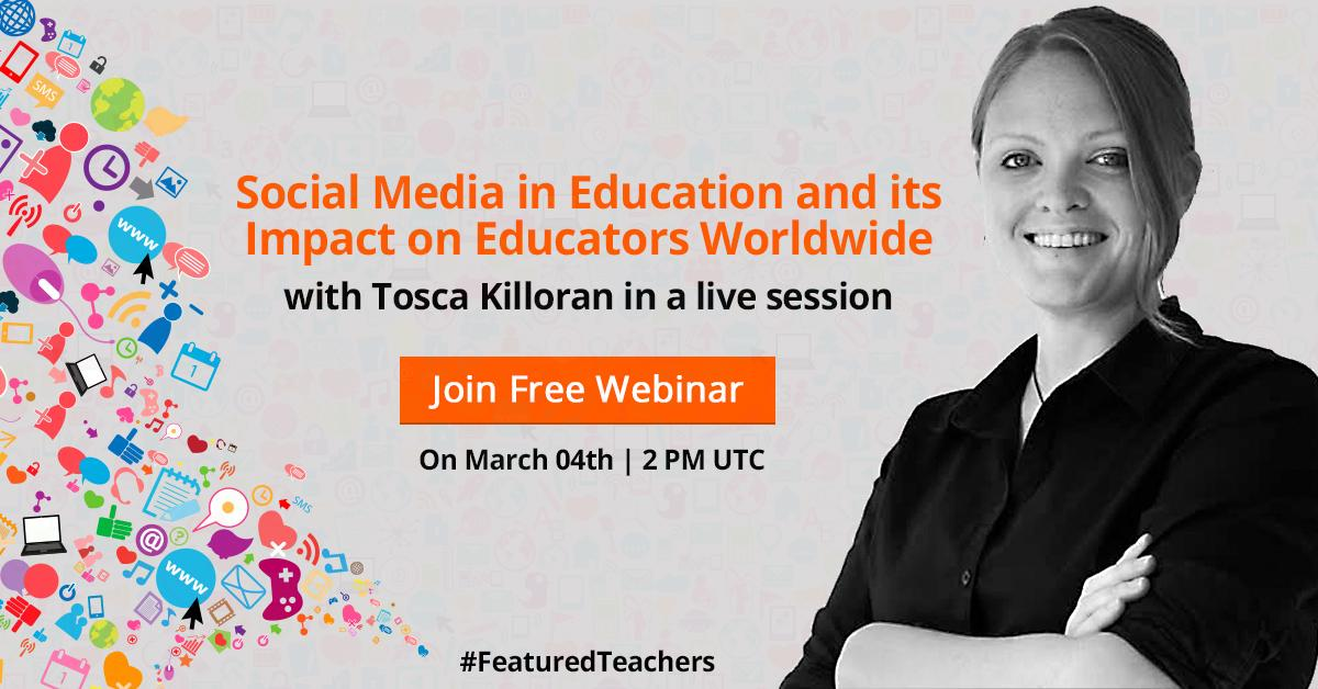 Learn how to use Social Media in Education with @ToscaKilloran in a Free Webinar - http://t.co/w64et2ZUUJ | #edchat http://t.co/E3whVHKGPS