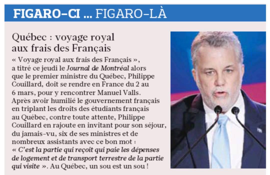 Visite prochaine de Philippe Couillard à Paris : le ton est donné.  Le Figaro (France) http://t.co/uAqE4xYHoE