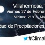 La Temperatura en #Villahermosa se mantendrá alrededor de los 26 °C, con lluvias durante el día y la noche | #Tabasco http://t.co/X3Jhi5FxCe