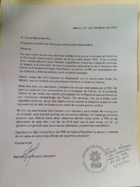 Esta es la carta de renuncia al PRD http://t.co/liqVDTzVwi